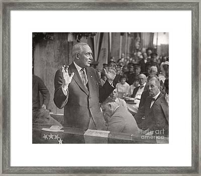 Framed Print featuring the photograph Warren G. Harding 1922 by Martin Konopacki Restoration