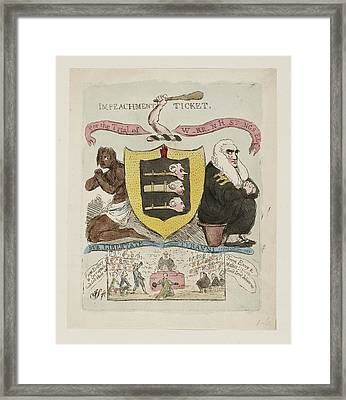 Warren Hastings Impeachment Ticket Framed Print