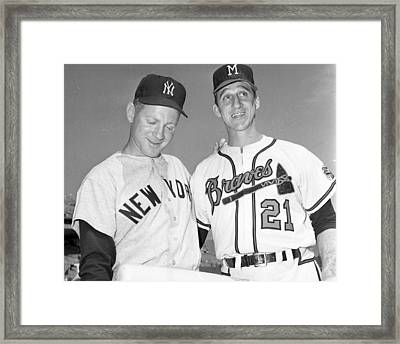 Warren Spahn With Whitey Ford Framed Print by Retro Images Archive