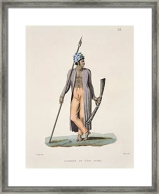 Warrior From The Island Of Guebe Framed Print