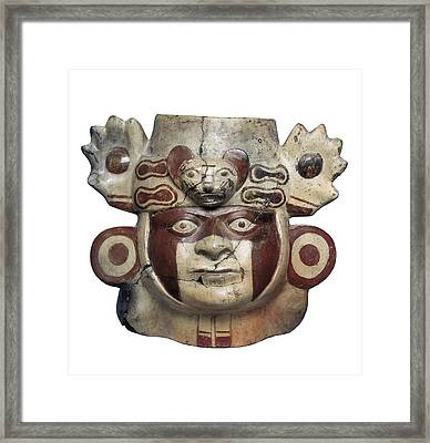 Warrior Head Shaped Vessel. Moche Or Framed Print by Everett