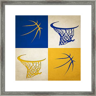 Warriors Ball And Hoop Framed Print