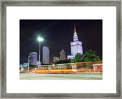 Warsaw Downtown Skyline At Night Framed Print by Michal Bednarek