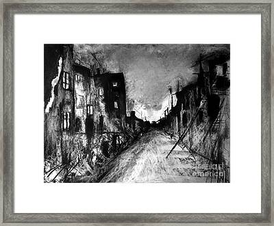 Framed Print featuring the drawing Warsaw Ghetto 1945 by Maja Sokolowska