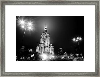 Warsaw Poland Downtown Skyline At Night Framed Print