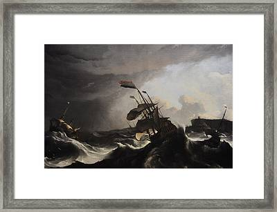 Warships In A Heavy Storm Framed Print by Ludolf Bakhuysen