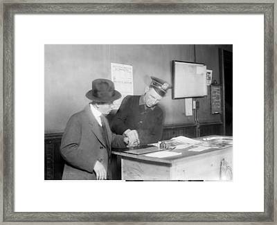 Wartime Fingerprinting, 1917 Framed Print by Science Photo Library