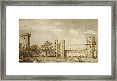 Warwick Castle The East Front From The Courtyard Canaletto Framed Print