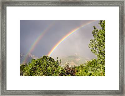Wasatch Rainbow Framed Print by Sue Smith