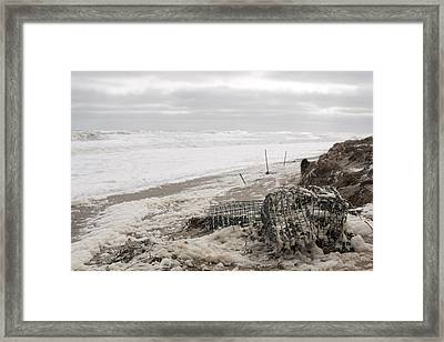 Wash A Shore From Storm Saturn  Framed Print by Eugene Bergeron