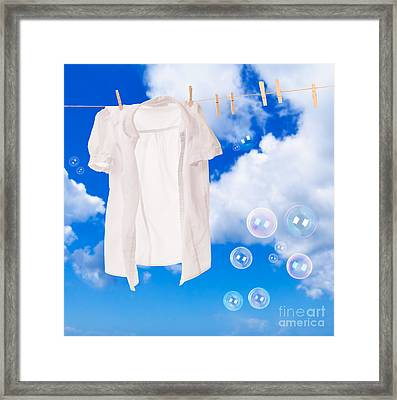 Wash Day Bubbles Framed Print by Amanda Elwell