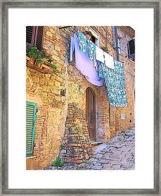 Wash Day Tuscany Framed Print by Jan Matson