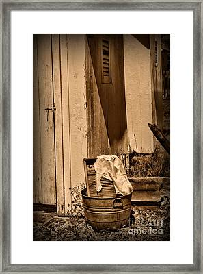 Washboard By The Outhouse Framed Print