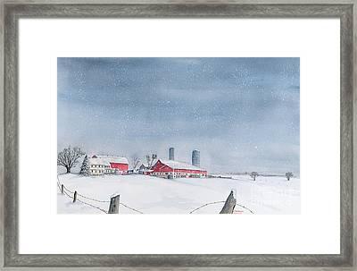 Washday Snow Framed Print