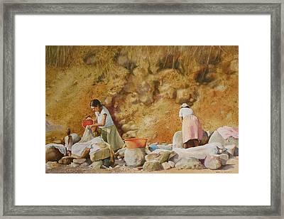 Framed Print featuring the painting Washerwomen by Karol Wyckoff