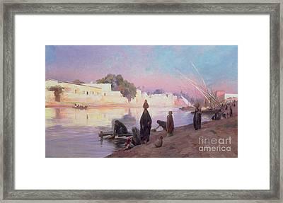 Washerwomen On The Banks Of The Nile Framed Print by Eugene Alexis Girardet