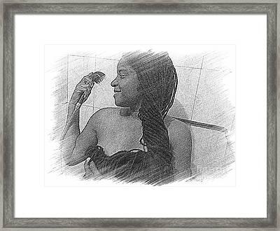 Washing All That Hair Framed Print by Fania Simon