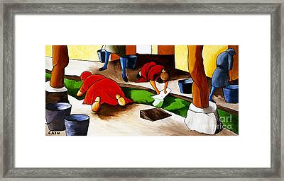 Washing Clothes At Canal Framed Print