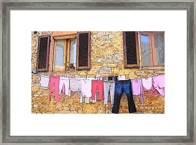 Washing Day Tuscany Framed Print by Jan Matson