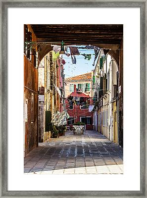 Washing Drying In The Wind In Venice Framed Print