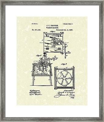 Washing Machine 1887 Patent Art Framed Print