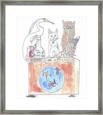 Framed Print featuring the painting Washing Machine Friends by Helen Holden-Gladsky