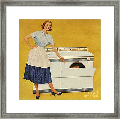 Washing Machines 1950s Usa Housewives Framed Print