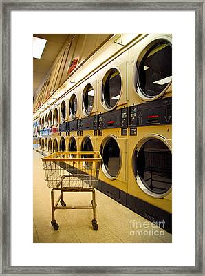 Washing Machines At Laundromat Framed Print by Amy Cicconi