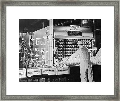 Washing Milk Bottles Framed Print