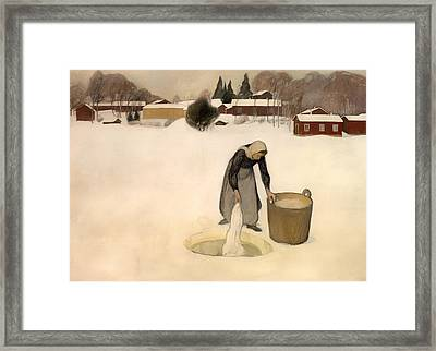 Washing On The Ice Framed Print