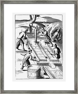 Washing Ore To Extract Gold Framed Print
