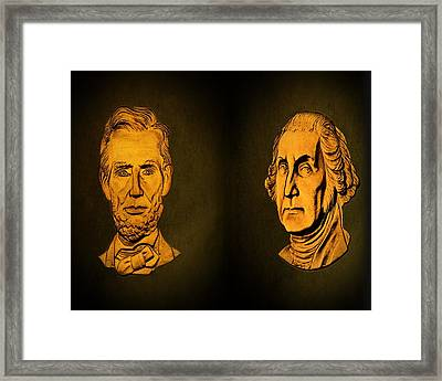 Washington And Lincoln Framed Print by David Dehner