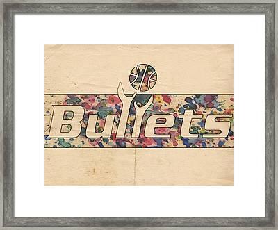 Washington Bullets Retro Poster Framed Print by Florian Rodarte