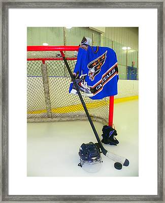 Washington Capitals Blue Away Hockey Jersey Framed Print by Lisa Wooten