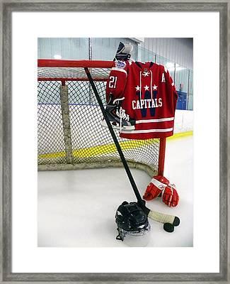 Washington Capitals Brooks Liach Winter Classic 2015 Jersey Framed Print by Lisa Wooten