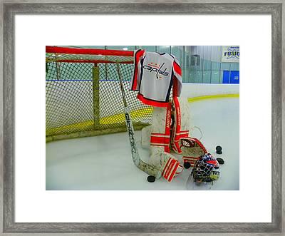 Washington Capitals Hockey Away Goalie Jersey Framed Print