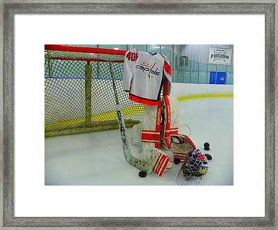 Washington Capitals Hockey Semyon Varlamov Away Jersey Framed Print by Lisa Wooten