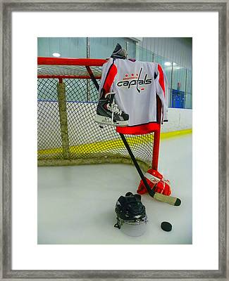 Washington Capitals Home Hockey Jersey Framed Print by Lisa Wooten