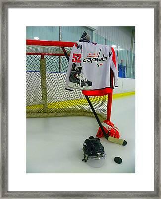 Washington Capitals Mike Green Away Hockey Jersey Framed Print by Lisa Wooten