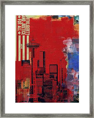 Washington City Collage 3 Framed Print by Corporate Art Task Force