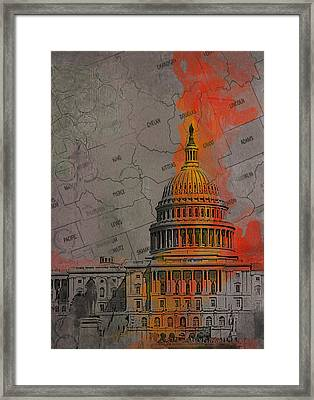 Washington City Collage Framed Print by Corporate Art Task Force
