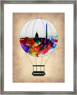 Washington D.c. Air Balloon Framed Print by Naxart Studio