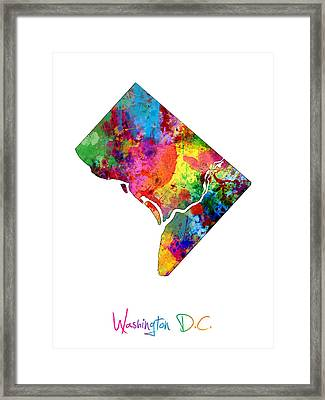 Washington Dc District Of Columbia Map Framed Print by Michael Tompsett