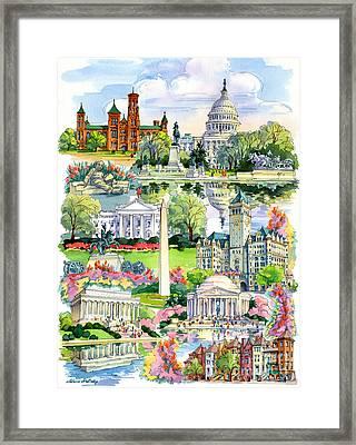 Washington Dc Painting Framed Print by Maria Rabinky