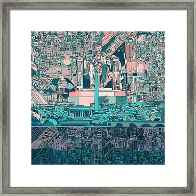 Washington Dc Skyline Abstract 5 Framed Print by Bekim Art