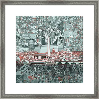 Washington Dc Skyline Abstract Framed Print by Bekim Art