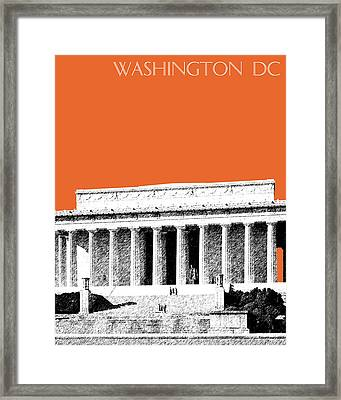 Washington Dc Skyline Lincoln Memorial - Coral Framed Print by DB Artist