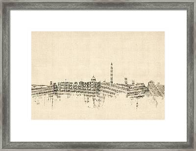 Washington Dc Skyline Sheet Music Cityscape Framed Print