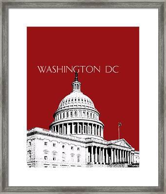 Washington Dc Skyline The Capital Building -  Dk Red Framed Print by DB Artist