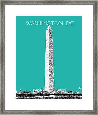 Washington Dc Skyline Washington Monument - Teal Framed Print by DB Artist